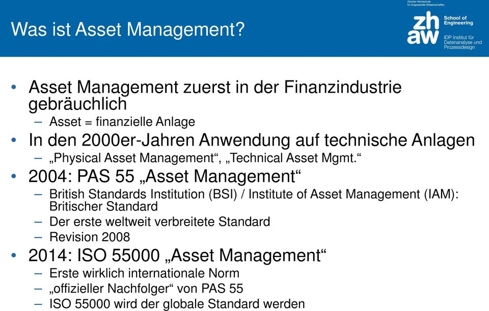 Anlagen Physical Asset Management, Technical Asset Mgmt.