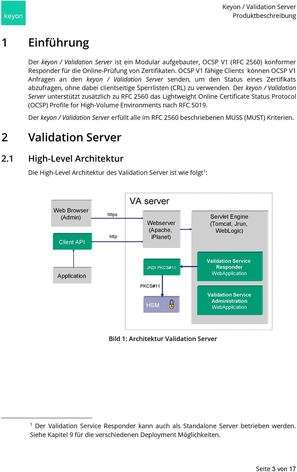 Der keyon / Validation Server unterstützt zusätzlich zu RFC 2560 das Lightweight Online Certificate Status Protocol (OCSP) Profile for High-Volume Environments nach RFC 5019.