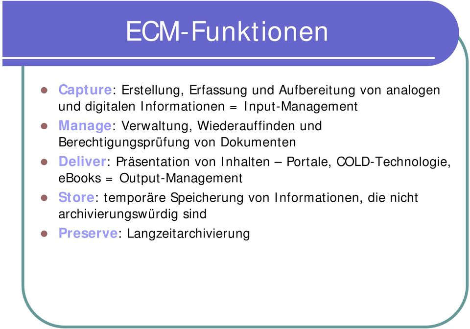 Dokumenten Deliver: Präsentation von Inhalten Portale, COLD-Technologie, ebooks = Output-Management