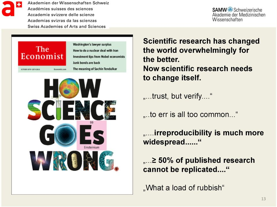 ....to err is all too common......irreproducibility is much more widespread.