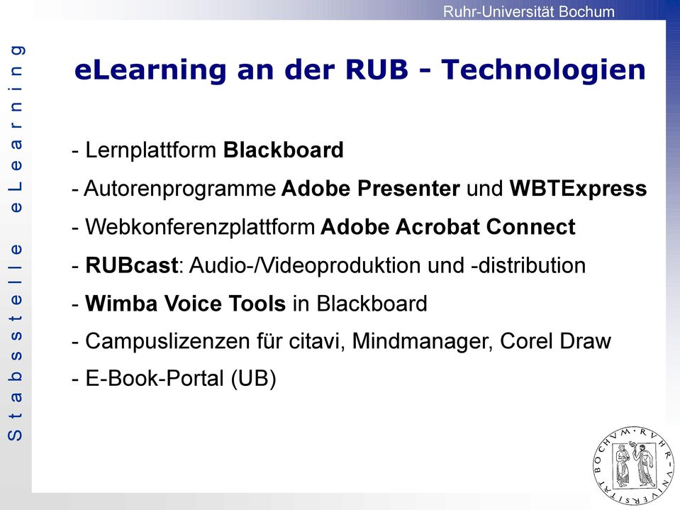 Acrobat Connect - RUBcast: Audio-/Videoproduktion und -distribution - Wimba