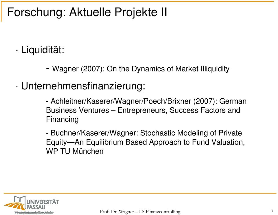 Entrepreneurs, Success Factors and Financing - Buchner/Kaserer/Wagner: Stochastic Modeling of Private