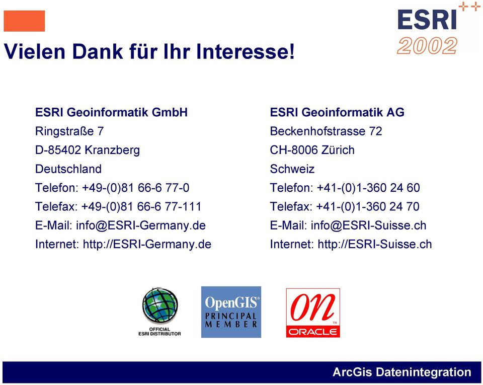 Telefax: +49-(0)81 66-6 77-111 E-Mail: info@esri-germany.de Internet: http://esri-germany.