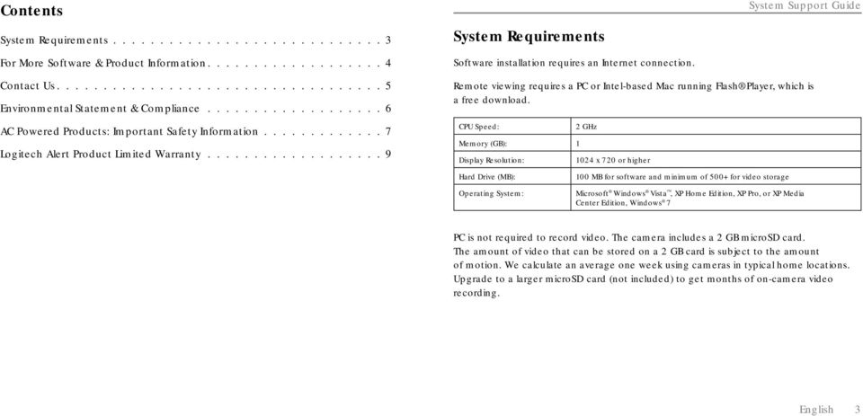.................. 9 System Requirements Software installation requires an Internet connection.