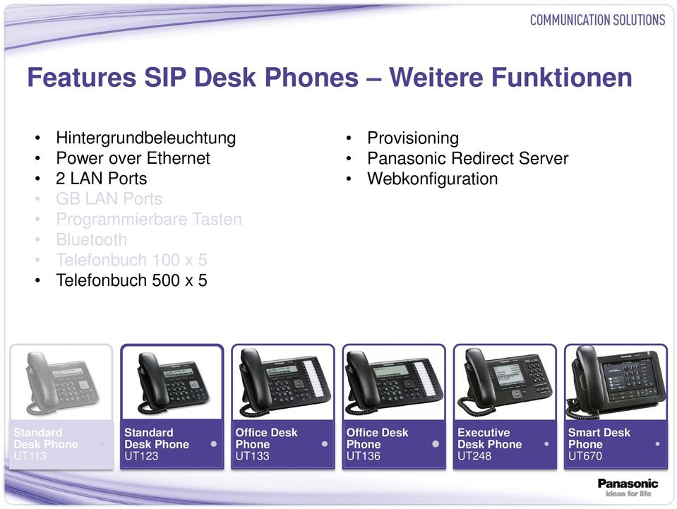 Telefonbuch 500 x 5 Provisioning Panasonic Redirect Server Webkonfiguration Desk