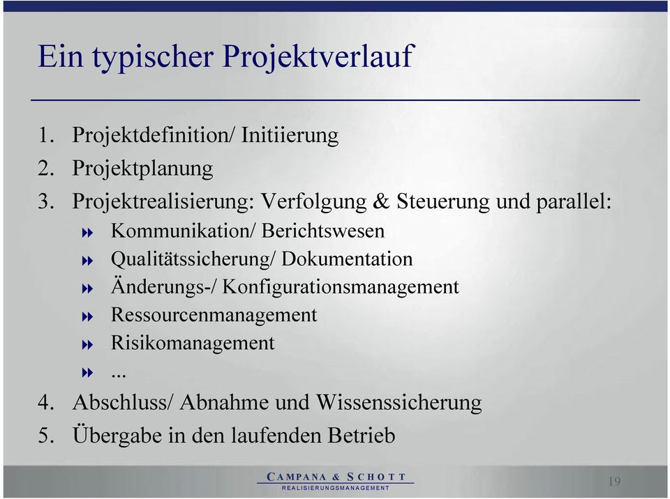 Qualitätssicherung/ Dokumentation Änderungs-/ Konfigurationsmanagement Ressourcenmanagement