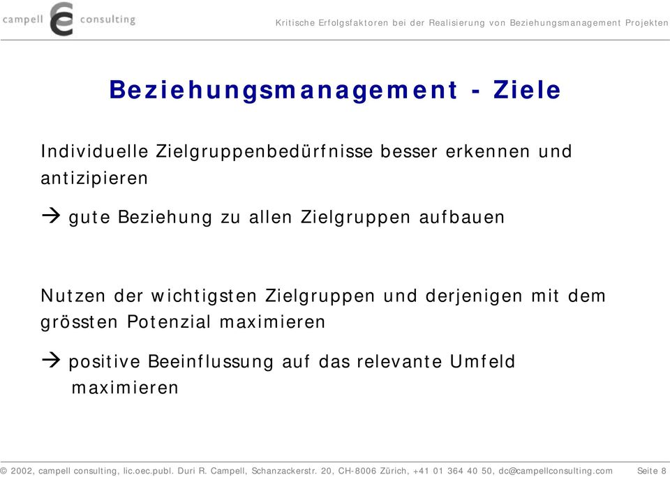 Potenzial maximieren positive Beeinflussung auf das relevante Umfeld maximieren 2002, campell consulting,