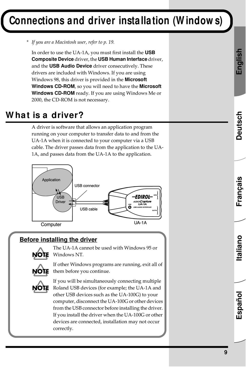 These drivers are included with Windows. If you are using Windows 98, this driver is provided in the Microsoft Windows CD-ROM, so you will need to have the Microsoft Windows CD-ROM ready.