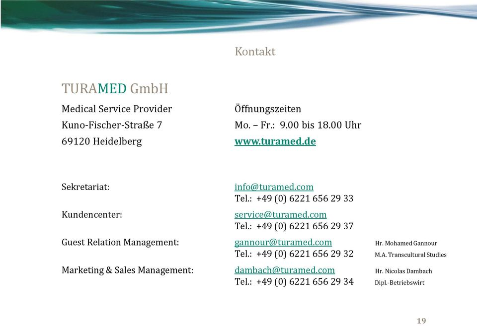 : +49 (0) 6221 656 29 33 service@turamed.com Tel.: +49 (0) 6221 656 29 37 Guest Relation Management: gannour@turamed.com Hr.