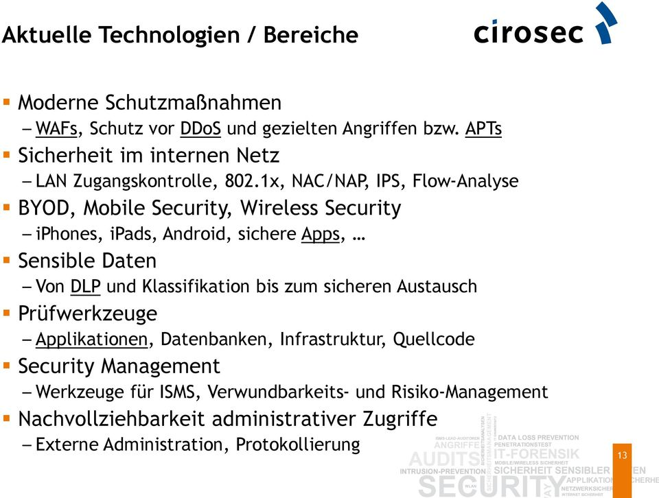 1x, NAC/NAP, IPS, Flow-Analyse BYOD, Mobile Security, Wireless Security iphones, ipads, Android, sichere Apps, Sensible Daten Von DLP und