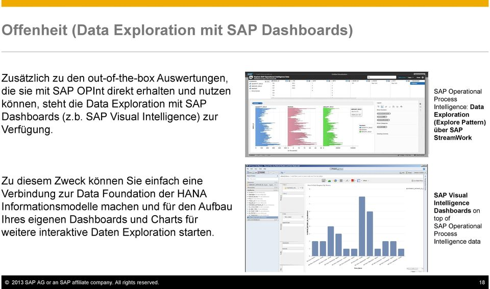 SAP Operational Process Intelligence: Data Exploration (Explore Pattern) über SAP StreamWork Zu diesem Zweck können Sie einfach eine Verbindung zur Data Foundation der HANA