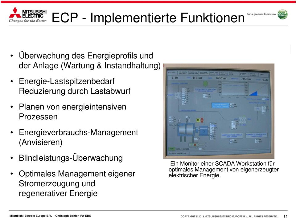 Energieverbrauchs-Management (Anvisieren) Blindleistungs-Überwachung Optimales Management eigener