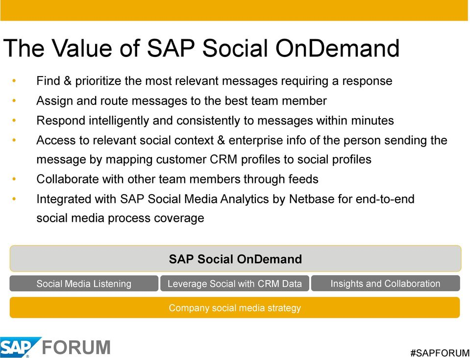 customer CRM profiles to social profiles Collaborate with other team members through feeds Integrated with SAP Social Media Analytics by Netbase for