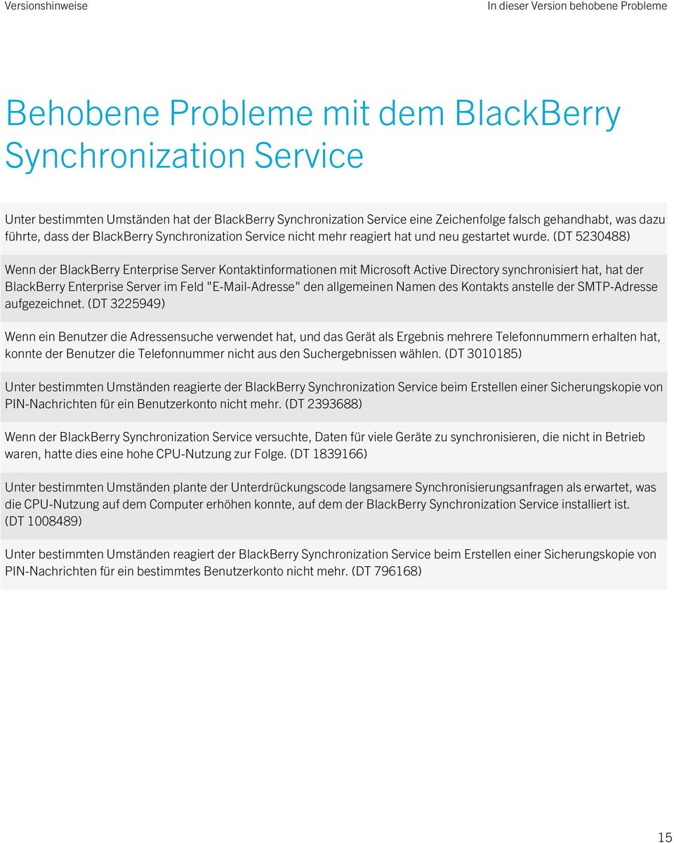 "(DT 5230488) Wenn der BlackBerry Enterprise Server Kontaktinformationen mit Microsoft Active Directory synchronisiert hat, hat der BlackBerry Enterprise Server im Feld ""E-Mail-Adresse"" den"