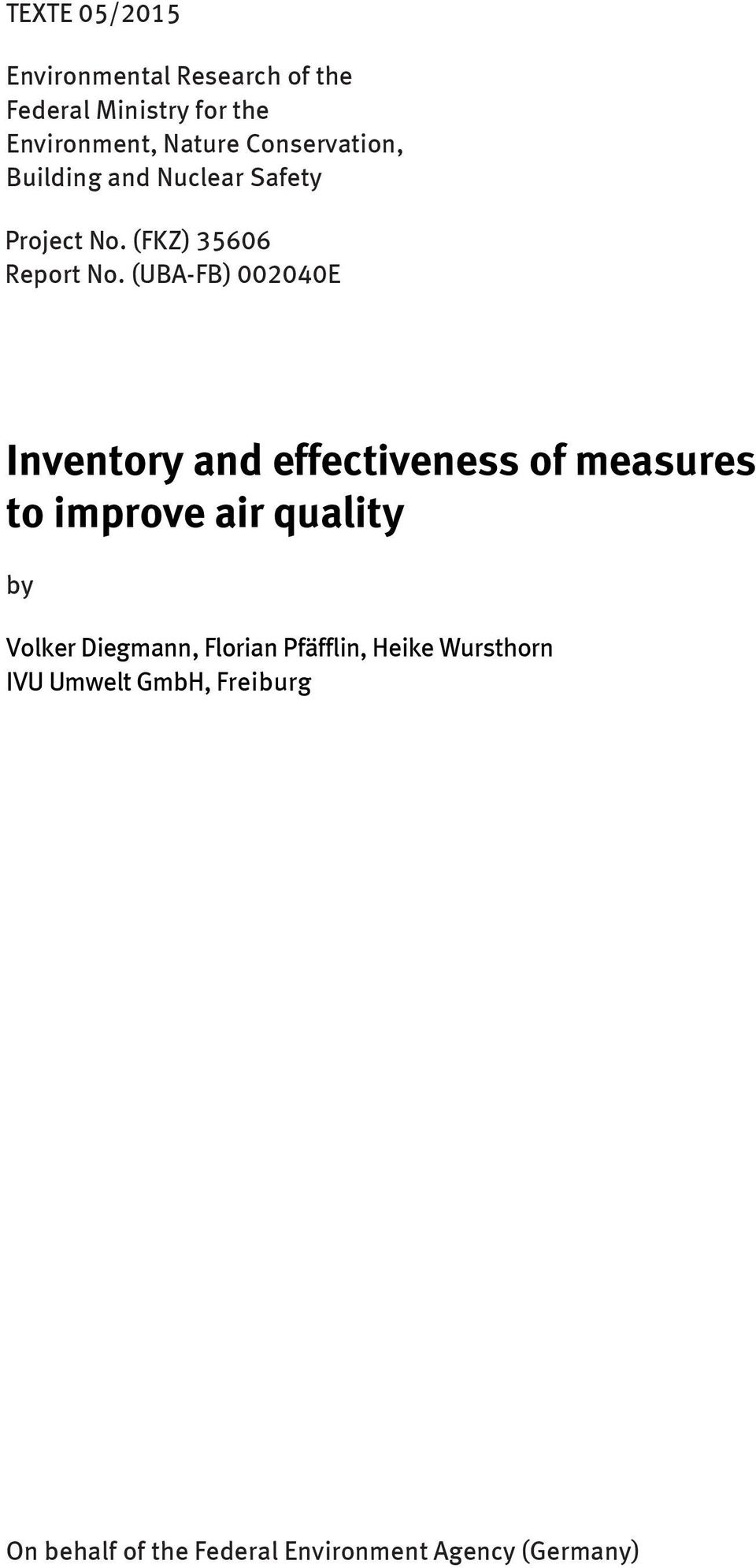 (UBA-FB) 002040E Inventory and effectiveness of measures to improve air quality by Volker