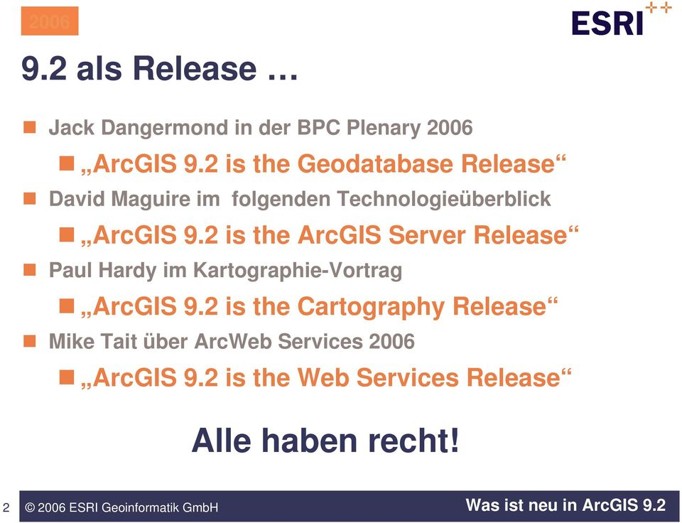2 is the ArcGIS Server Release Paul Hardy im Kartographie-Vortrag ArcGIS 9.