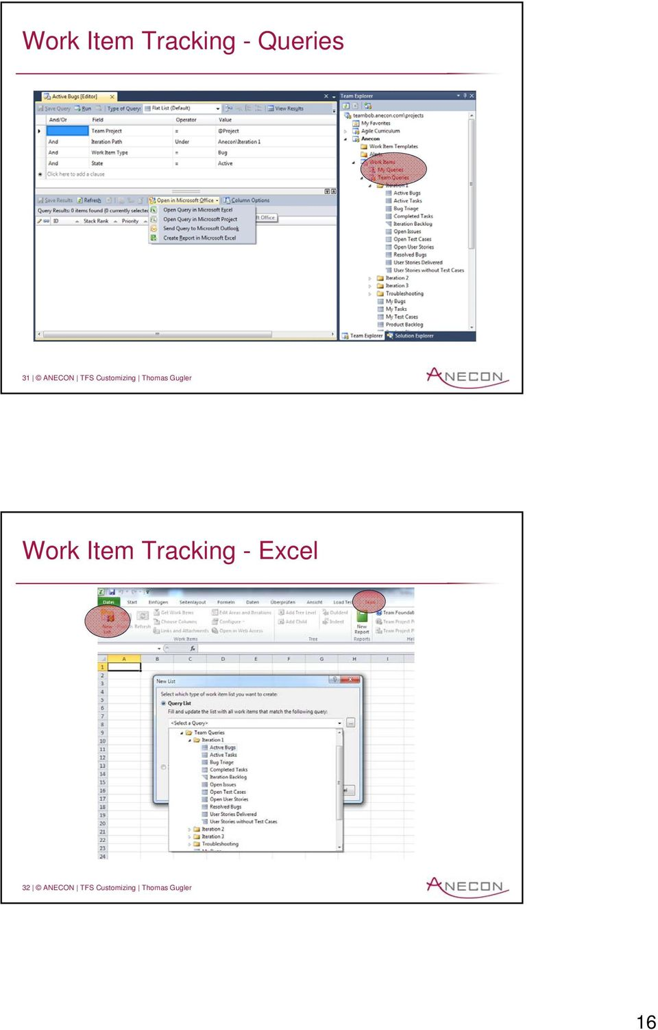 Gugler Work Item Tracking - Excel