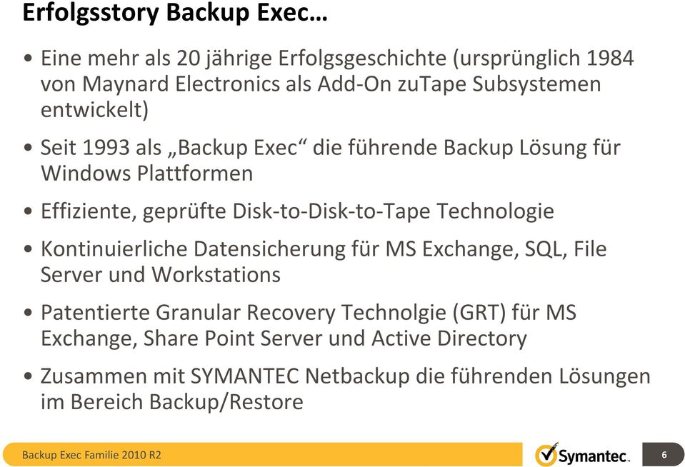 Disk-to-Disk-to-Tape Technologie Kontinuierliche Datensicherung für MS Exchange, SQL, File Server und Workstations Patentierte Granular