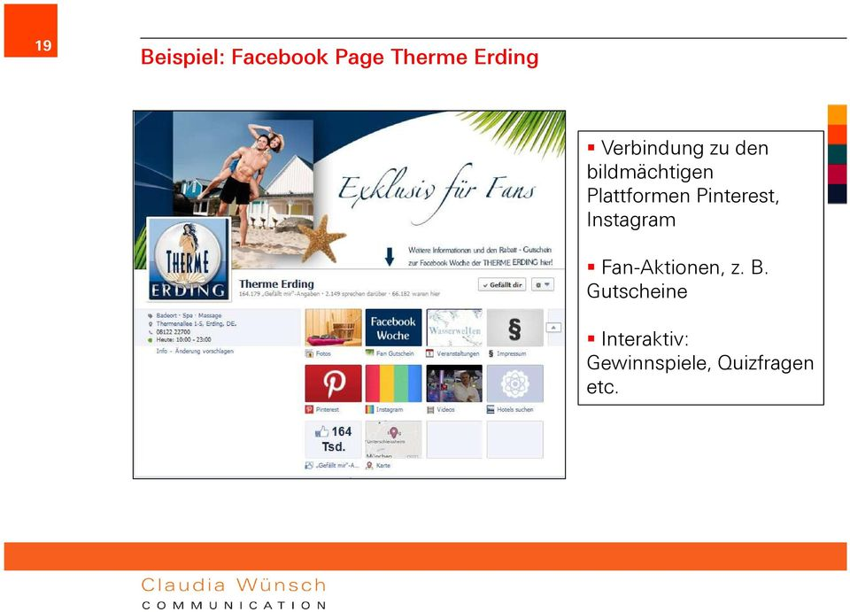 Pinterest, Instagram Fan-Aktionen, z. B.