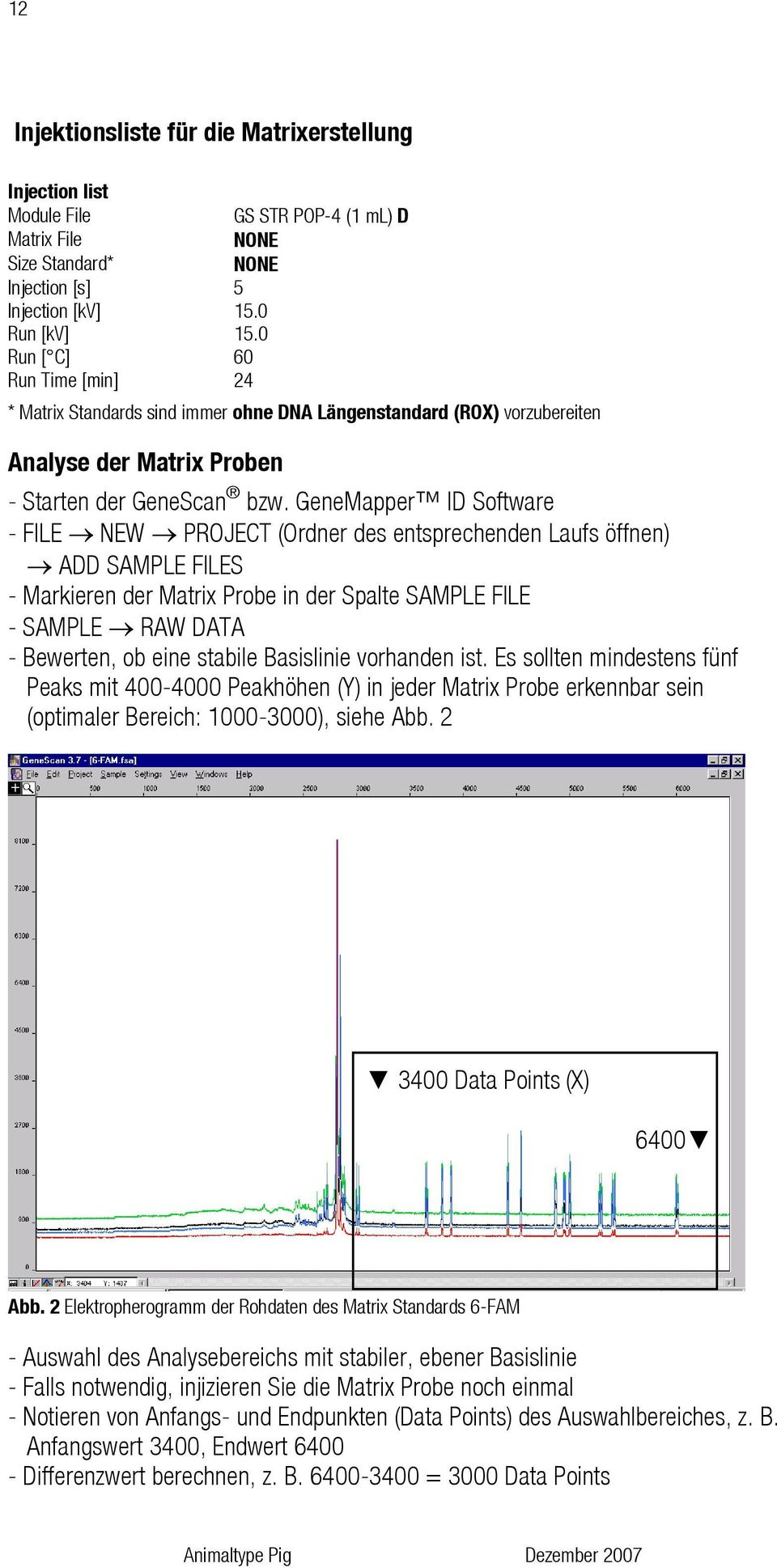 GeneMapper ID Software - FILE NEW PROJECT (Ordner des entsprechenden Laufs öffnen) ADD SAMPLE FILES - Markieren der Matrix Probe in der Spalte SAMPLE FILE - SAMPLE RAW DATA - Bewerten, ob eine