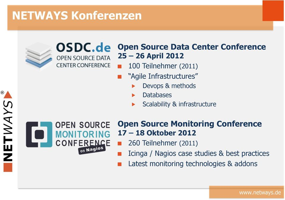 Scalability & infrastructure Open Source Monitoring Conference 17 18 Oktober 2012!