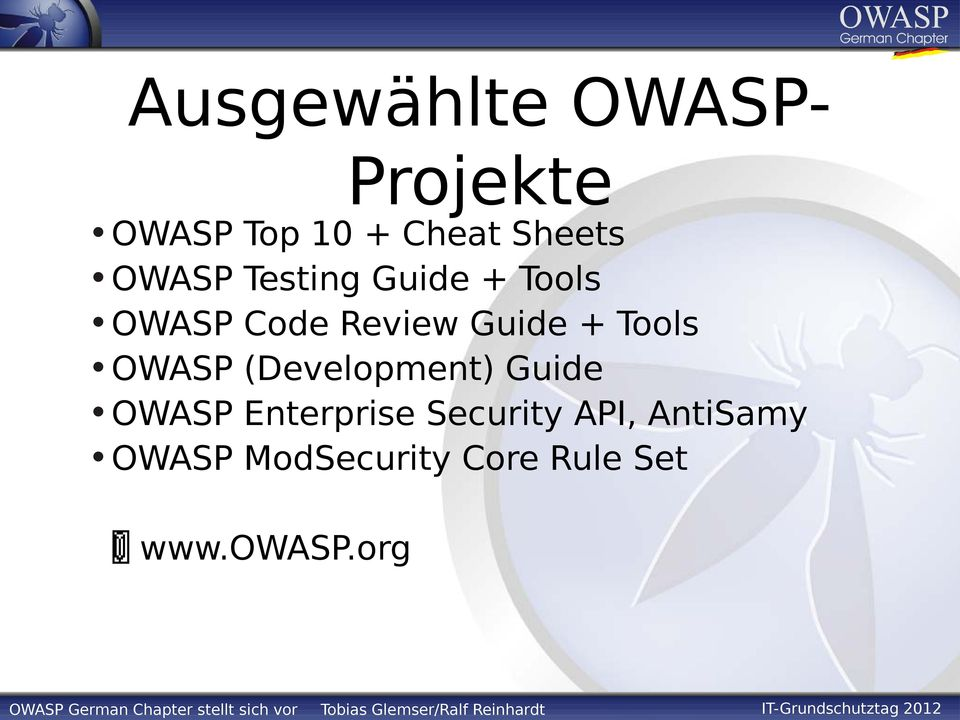 Tools OWASP (Development) Guide OWASP Enterprise
