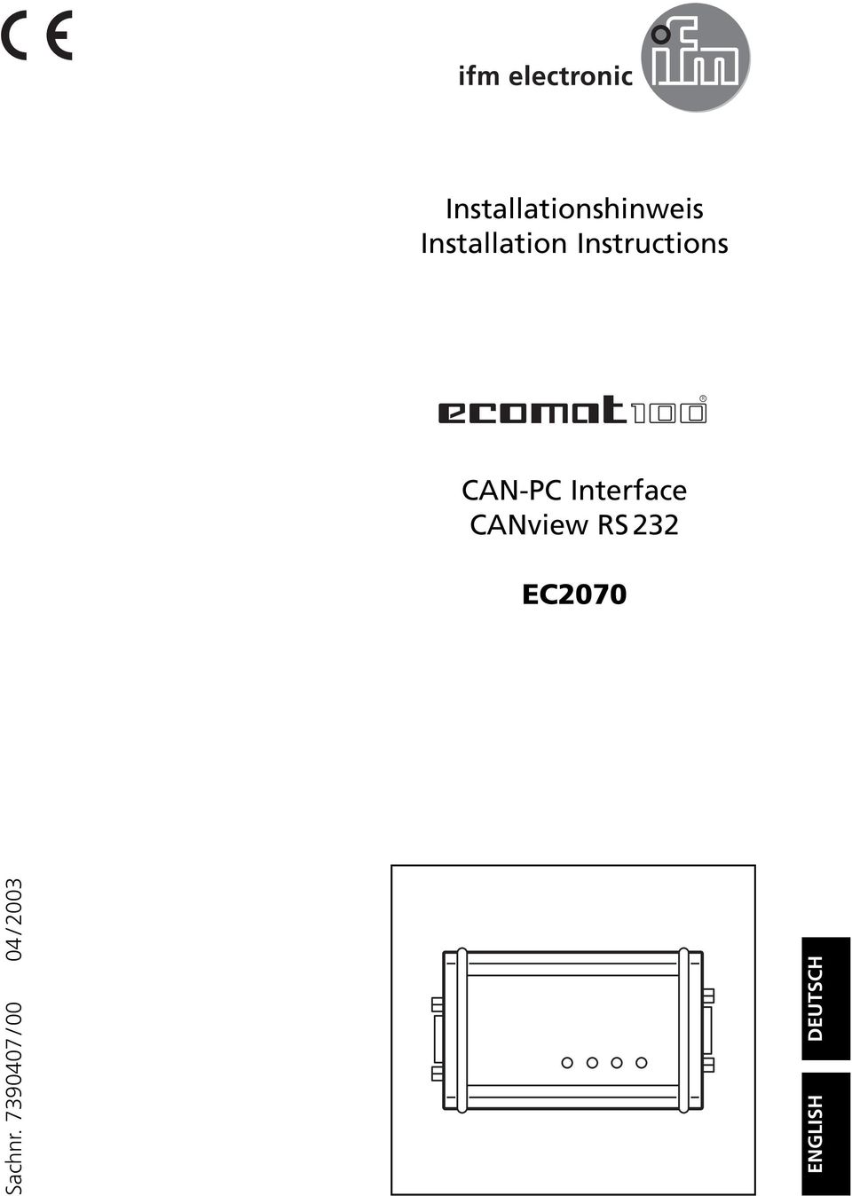 CANview RS 232 EC2070 Sachnr.