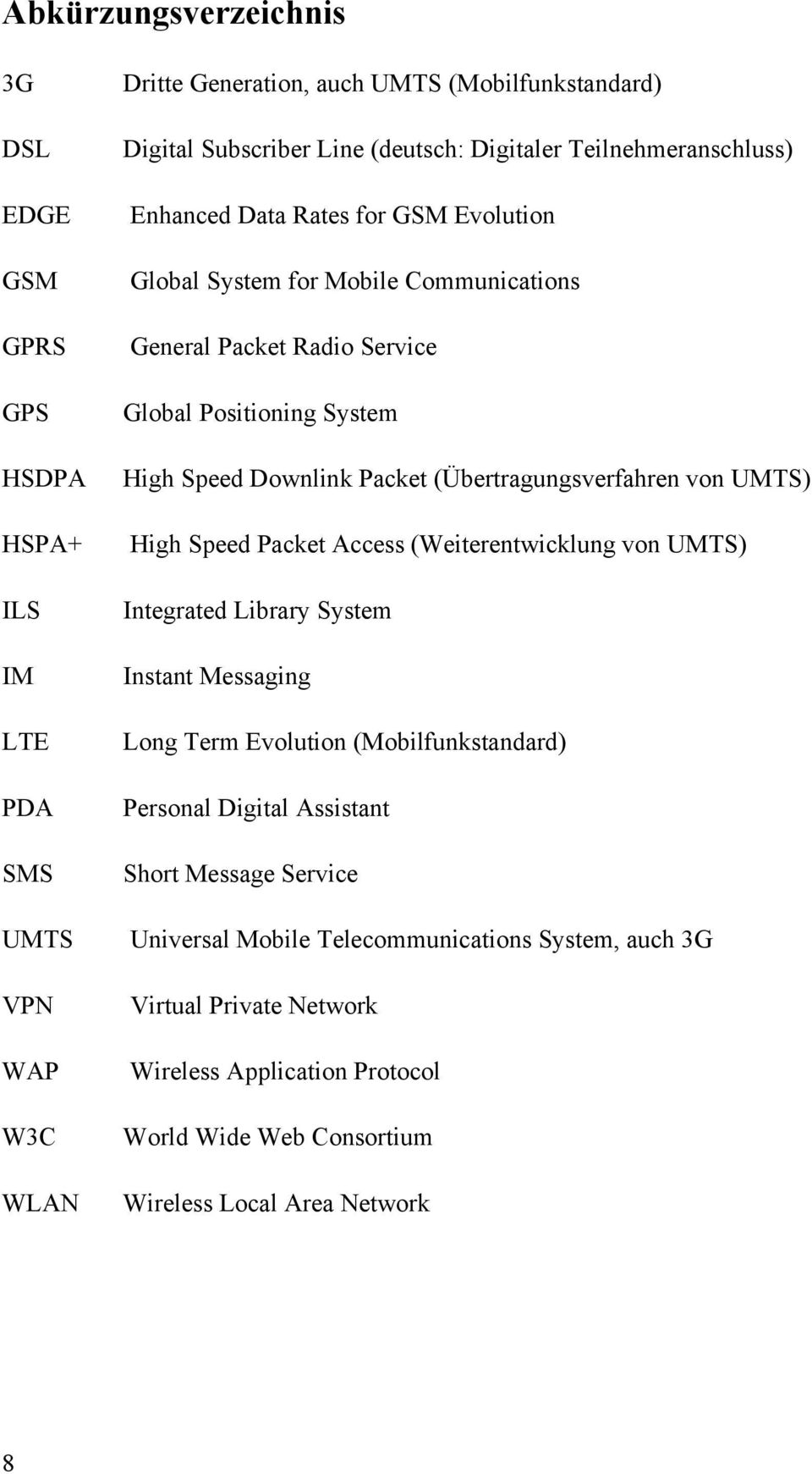 Packet (Übertragungsverfahren von UMTS) High Speed Packet Access (Weiterentwicklung von UMTS) Integrated Library System Instant Messaging Long Term Evolution (Mobilfunkstandard) Personal
