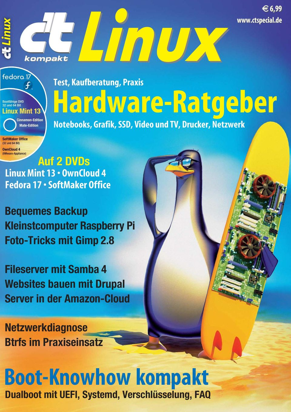 Linux Mint 13 OwnCloud 4 Fedora 17 SoftMaker Office Bequemes Backup Kleinstcomputer Raspberry Pi Foto-Tricks mit