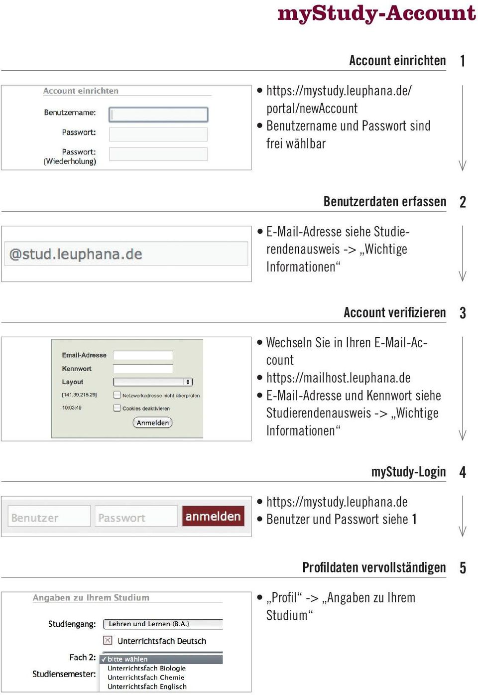 -> Wichtige Informationen Account verifizieren 3 Wechseln Sie in Ihren E-Mail-Account https://mailhost.leuphana.
