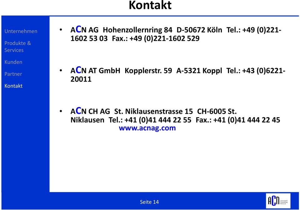 : +43 (0)6221-20011 ACN CH AG St. Niklausenstrasse15 CH-6005 St.