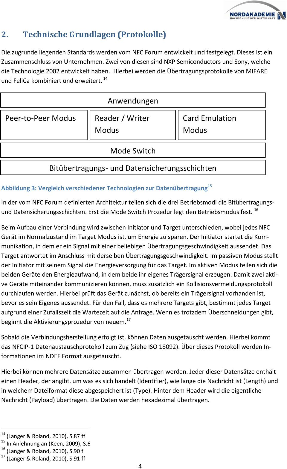 14 Anwendungen Peer-to-Peer Modus Reader / Writer Modus Mode Switch Card Emulation Modus Bitübertragungs- und Datensicherungsschichten Abbildung 3: Vergleich verschiedener Technologien zur