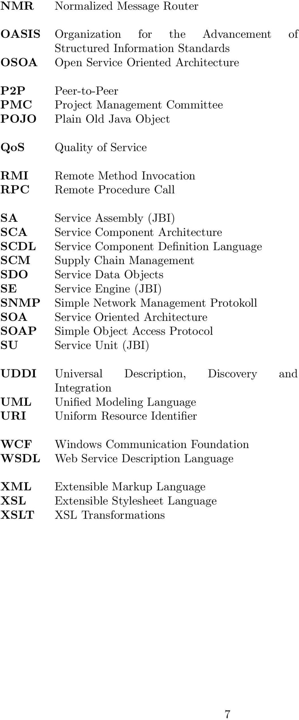 Service Component Definition Language Supply Chain Management Service Data Objects Service Engine (JBI) Simple Network Management Protokoll Service Oriented Architecture Simple Object Access Protocol