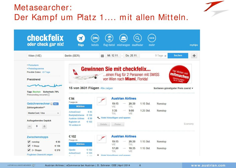 Austrian Airlines ecommerce bei
