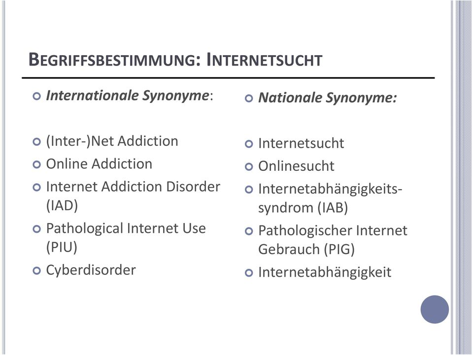 Pathological Internet Use (PIU) Cyberdisorder Internetsucht Onlinesucht