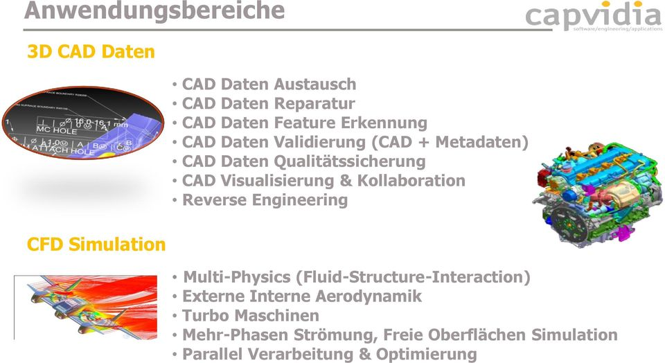Visualisierung & Kollaboration Reverse Engineering Multi-Physics (Fluid-Structure-Interaction) Externe