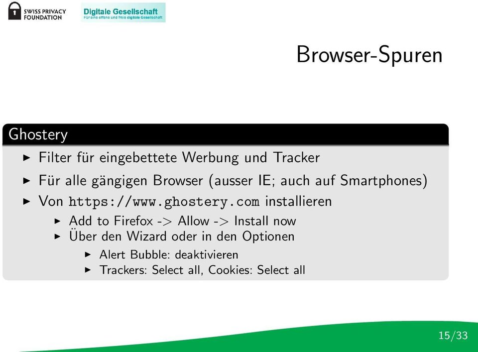 com installieren Add to Firefox -> Allow -> Install now Über den Wizard oder in