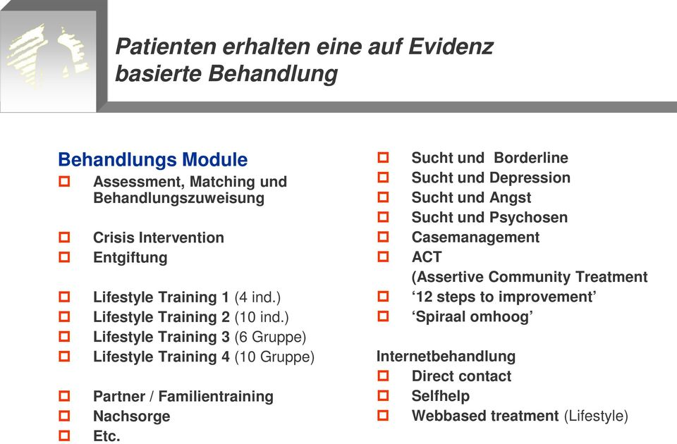 ) Lifestyle Training 3 (6 Gruppe) Lifestyle Training 4 (10 Gruppe) Partner / Familientraining Nachsorge Etc.