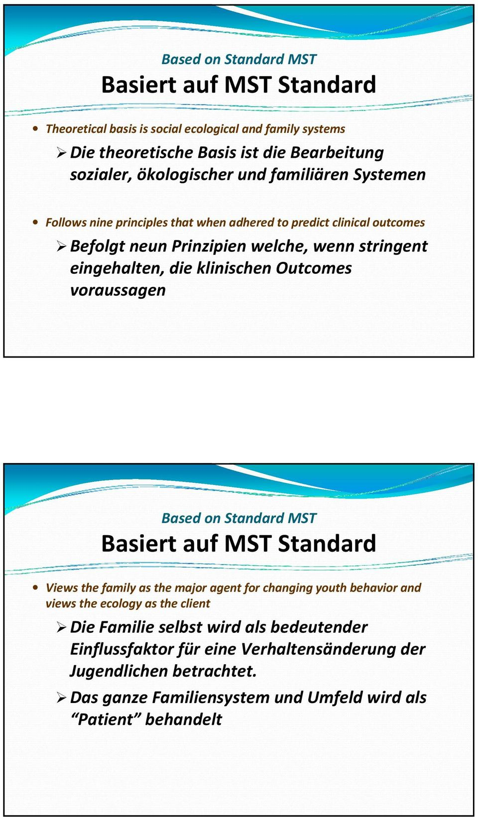Outcomes voraussagen Based on Standard MST Basiert auf MST Standard Views the family as the major agent for changing youth behavior and views the ecology as the client