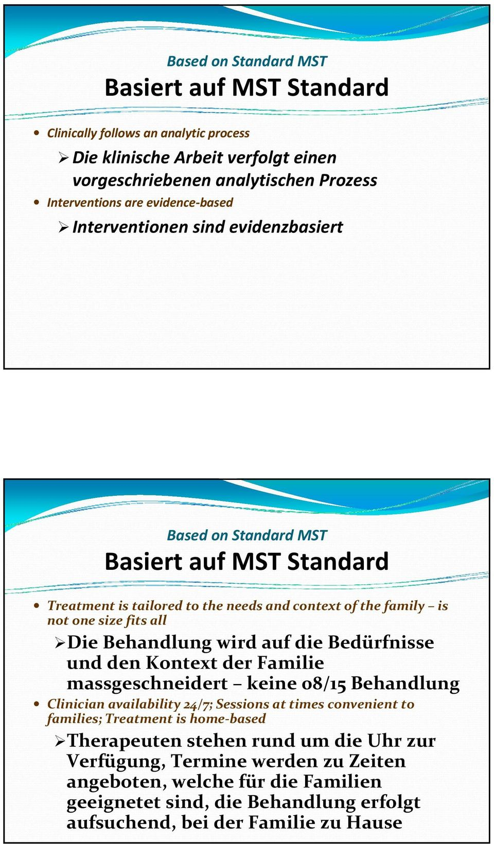Behandlung wird auf die Bedürfnisse und den Kontext der Familie massgeschneidert keine 08/15 Behandlung Clinician availability 24/7; Sessions at times convenient to families; Treatment is