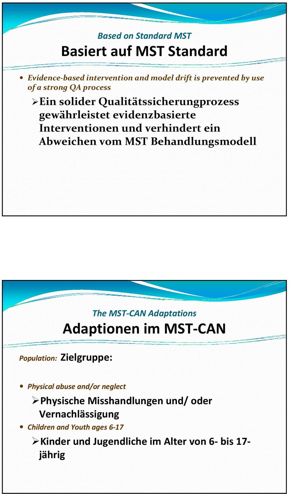 MST Behandlungsmodell The MST CAN Adaptations Adaptionen im MST CAN Population: Zielgruppe: Physical abuse and/or neglect