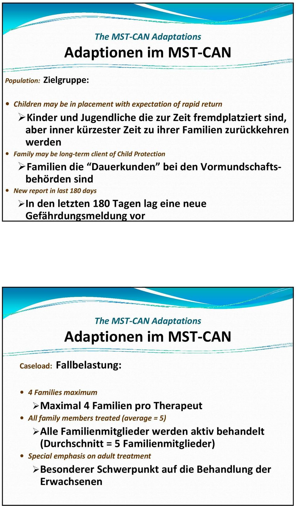 letzten 180 Tagen lag eine neue Gefährdungsmeldung vor The MST CAN Adaptations Adaptionen im MST CAN Caseload: Fallbelastung: 4 Families maximum Maximal 4 Familien pro Therapeut All family members