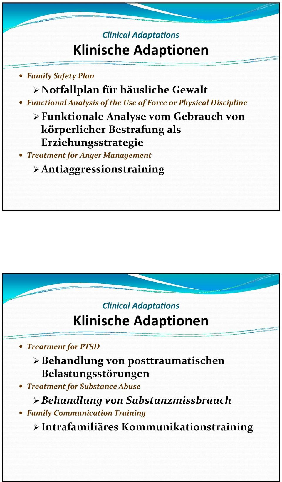 Management Antiaggressionstraining Clinical Adaptations Klinische Adaptionen Treatment for PTSD Behandlung von posttraumatischen