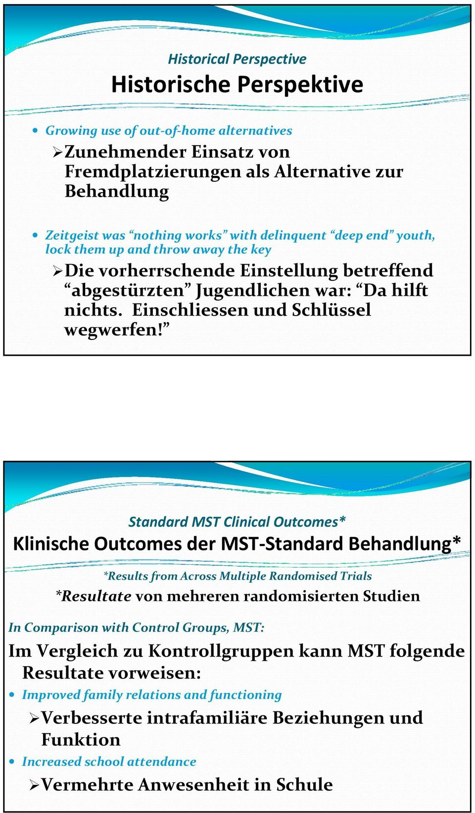 Standard MST Clinical Outcomes* Klinische Outcomes der MST Standard Behandlung* *Results from Across Multiple Randomised Trials *Resultate von mehreren randomisierten Studien In Comparison with