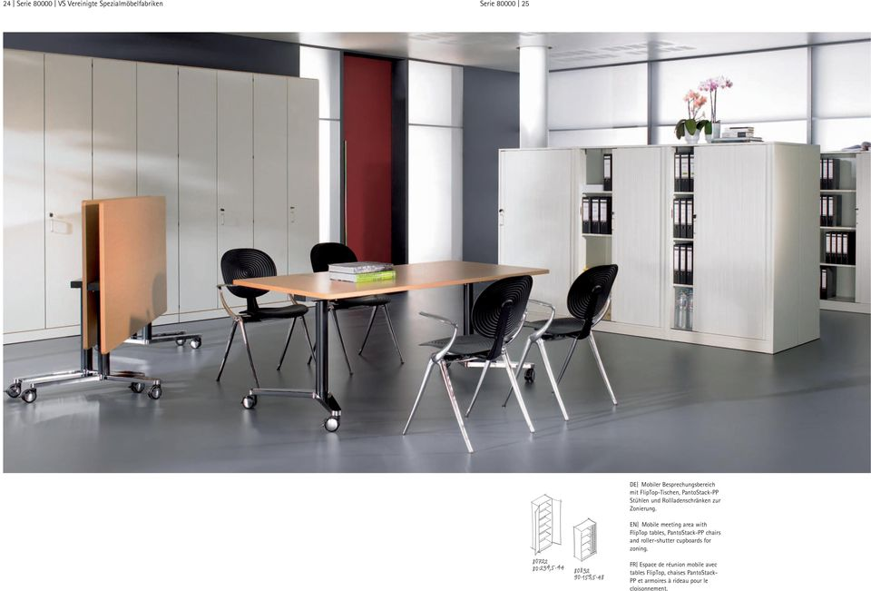 EN Mobile meeting area with FlipTop tables, PantoStack-PP chairs and roller-shutter cupboards for