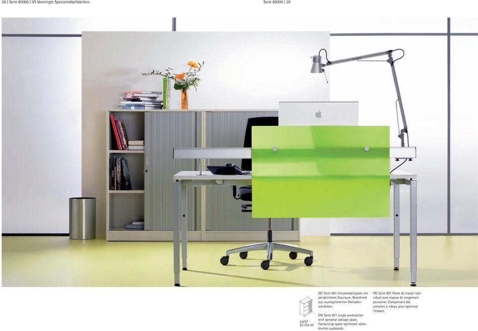 EN Serie 901 single workstation with personal storage space.