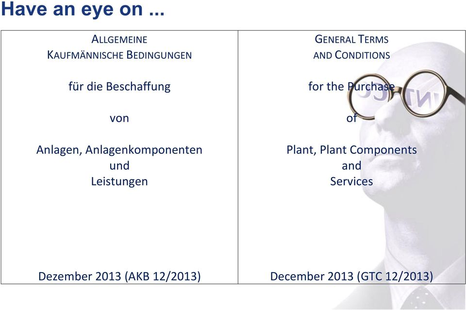 CONDITIONS for the Purchase of Plant, Plant Components and