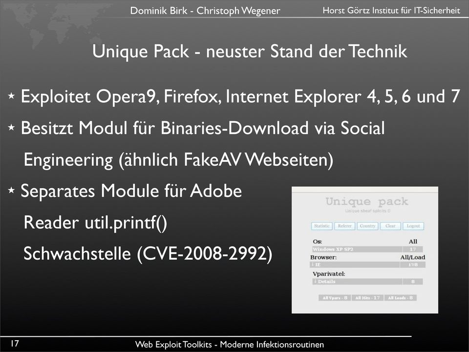 Binaries-Download via Social Engineering (ähnlich FakeAV