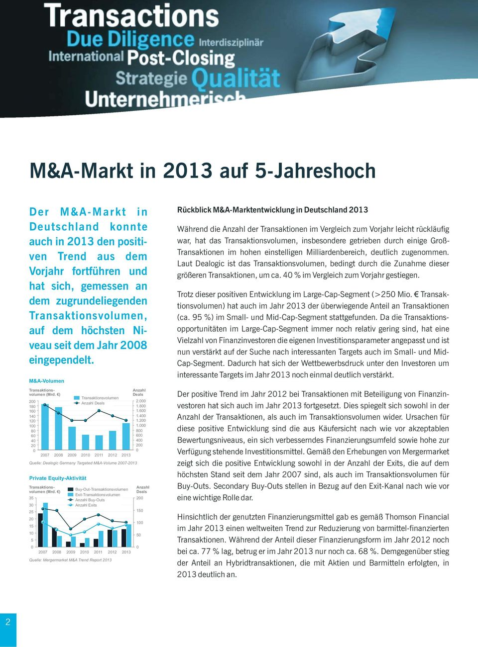 600 1.400 1.200 1.000 800 600 400 200 0 2007 2008 2009 2010 2011 2012 2013 Quelle: Dealogic Germany Targeted M&A-Volume 2007-2013 Private Equity-Aktivität Transaktionsvolumen (Mrd.