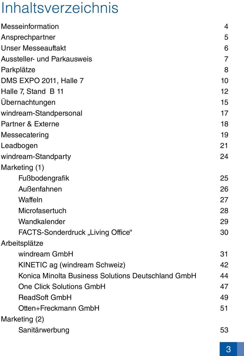 Fußbodengrafik 25 Außenfahnen 26 Waffeln 27 Microfasertuch 28 Wandkalender 29 FACTS-Sonderdruck Living Office 30 Arbeitsplätze windream GmbH 31 KINETIC ag